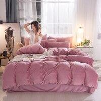 Super Soft Crystal Velvet Bedding Set Simple Solid Color Comforter Cover Bedspread Pillowcase Winter Warm Duvet Cover Bed Set