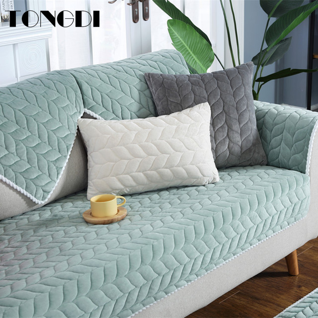 Tongdi Modern Thick Luxury Sofa Cover Elegant Towel Lace Convenient Slipcover Anti skid Seat Couch Decor