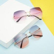 Polygon frameless trimming sunglasses female gradient ocean color UV400 resistant women
