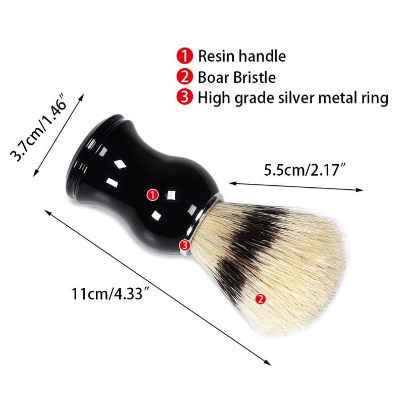 1Pc Mens Shaving Brush Boar Bristle Hair Straight Razor Shave Barber Face Cleaning Black Resin Handle Salon Tool Classic Gift