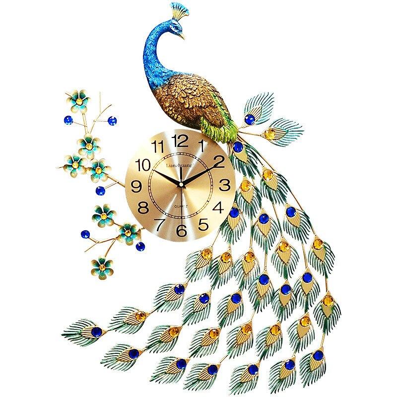 Horloge murale paon européen salon montre création moderne horloge décorative Silence métal décorations murales salon
