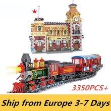 Bloques de construcción de tren y estación de Disney, Serie de películas, J11001, 3350 Uds., casa de juguete, bloques compatibles con 11442 31001