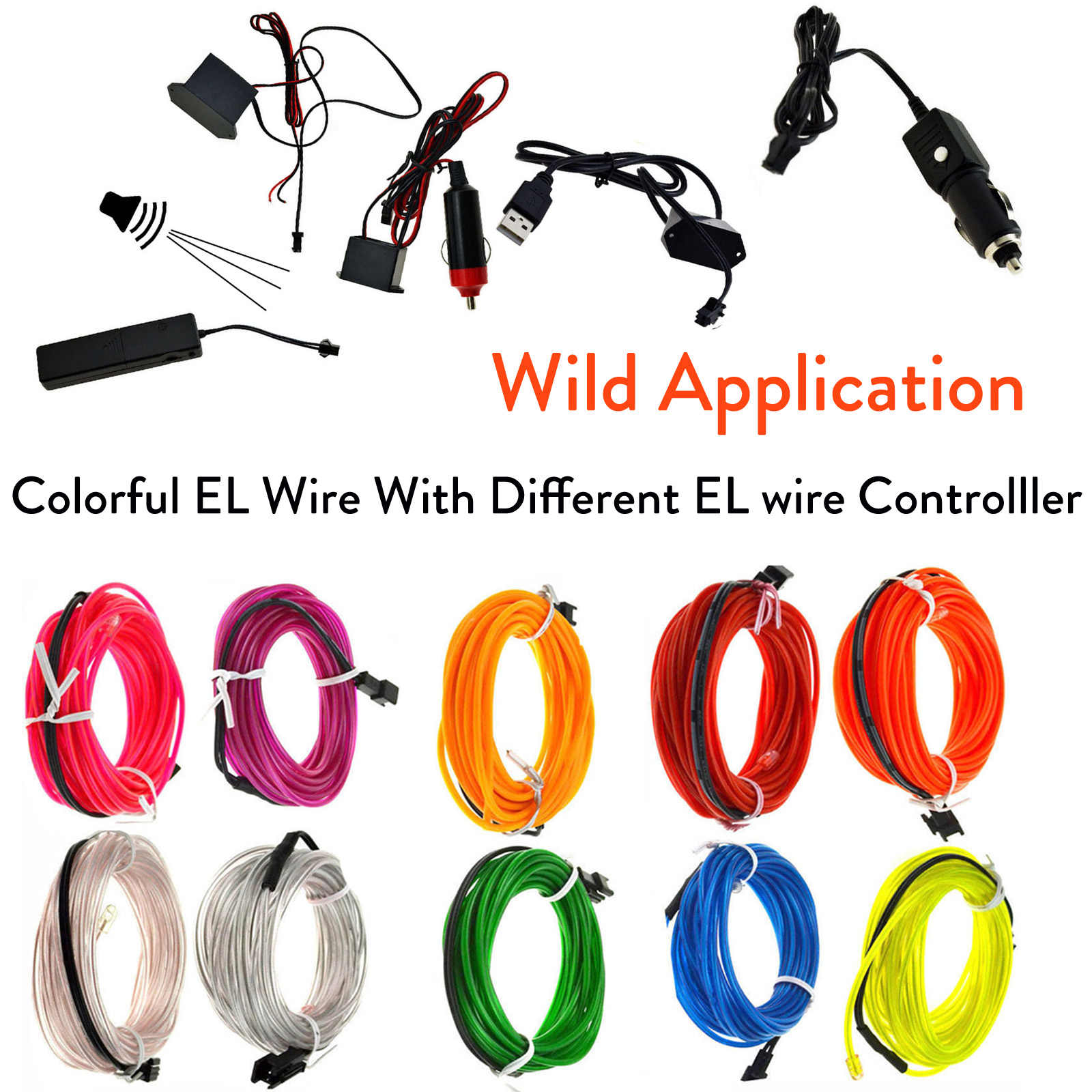 El Kawat 1M Cahaya String Strip LED dengan Controller Inverter 3 V/12 V/Suara diaktifkan/USB/Mobil Rokok