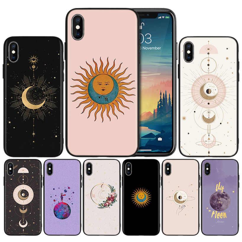 Vàng Mặt Trăng Và Mặt Trời Thẩm Mỹ Silicone Ốp Lưng Điện Thoại Iphone 11 11Pro Max Đen Mềm Mại Cao Cấp Lưng Bảo Vệ bao Da Couqe