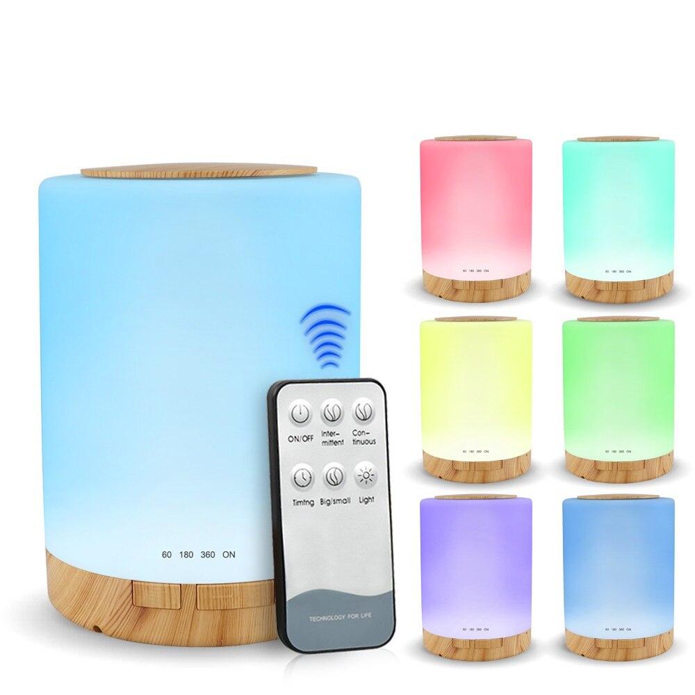 KBAYBO 300ml humidificateur d'air électrique avec 7 couleurs LED veilleuse huile essentielle diffuseur d'arôme base en bois pour voiture de bureau à domicile