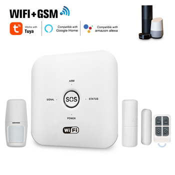 Tuya Smart WIFI GSM Home Security Alarm System PIR Remote Controlled Compatible with Alexa Google Assistant for Smart Home