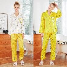 Women Silk Satin Pajamas Cute Set for Girl Long Sleeve Sleepwear Pijama Print Pineapple Nightwear Shirt&Pant Suit Female