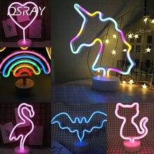 النيون تسجيل USB LED الديكور يونيكورن فلامنغو مصباح القمر قوس قزح للمنزل غرفة الطفل السرير ليلة ضوء إضاءة زينة للأطفال