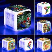 Juego de Super Mario figuras de acción de juguete genial Mario figura LED de alarma de reloj de luz para los niños de cumpleaños de los niños, regalo de juguetes, muñecas
