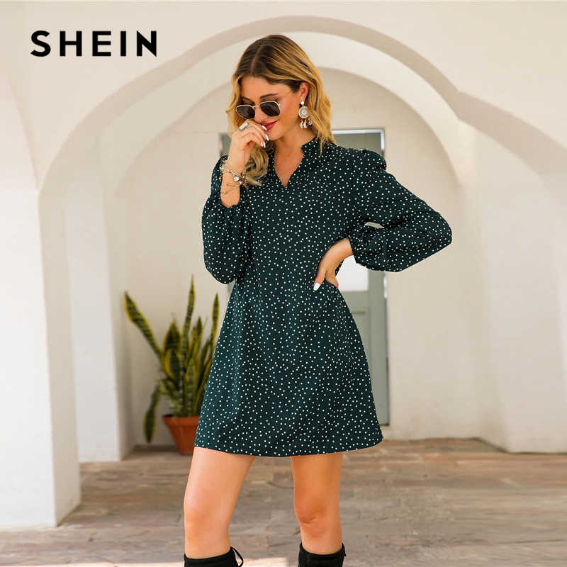 SHEIN Green Notched Polka Dot A-line Short Dress Women Spring Summer Long Bishop Sleeve Loose Casual Tunic Dresses