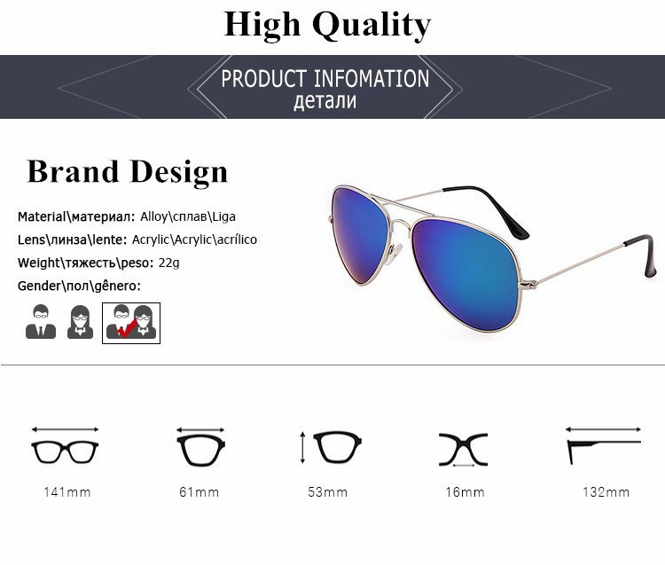 Classic Polarized Sunglass Designer Famous Vintage Pilot Sunglasses Lady Mirror Driving Sun Glasses For Women Men Fashion Shades (3)