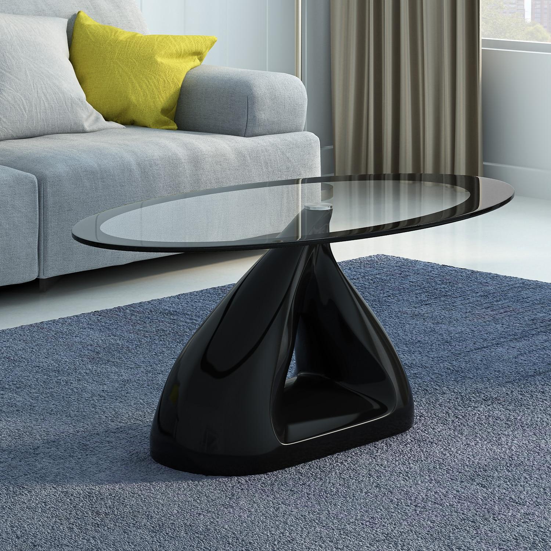 Panana Modern Retro Oval Glass High Gloss Coffee Table High Gloss Fibreglass Base Black/White/Red