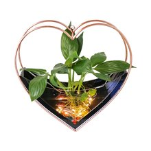 Stand Vase Hanging Air Plants Pot Heart Shape Wall-Mounted Flower Plant Holder Planter Modern Home Decor Hydroponic Bonsai()
