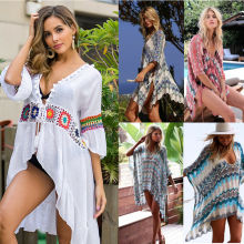 Womens Summer Bikini Dress Beach Wear Colorblock Cover Up Boho Beach Dress Robe Swimwear Ladies Swing Sun Dress Women's Swimsuit