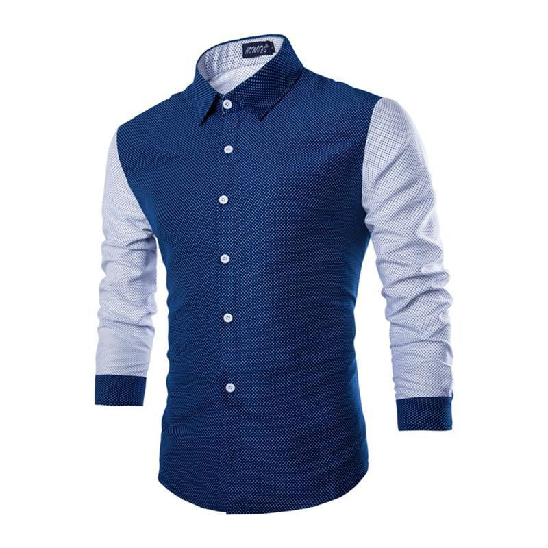 Mens Casual Slim Fit Cotton Dot Shirts Fashion Men Stitching Color Long Sleeve Streetwear Mens Shirts For Spring M-2XL