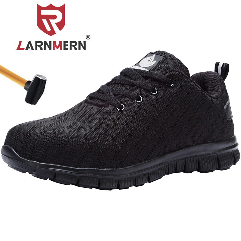 LARNMERN Mens Lightweight Steel Toe Cap Safety Shoes Reflective Anti-puncture Breathable Construction Work Boots