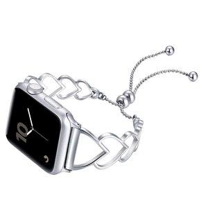 Металлический ремешок в форме сердца для Apple Watch 4 5 Band 44 мм 40 мм Iwatch 3 2 1 38 мм 42 мм, браслет для часов из нержавеющей стали