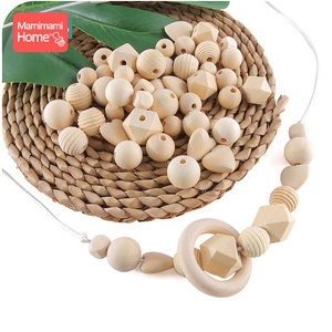 Image 2 - 45pc Wooden Beads Baby Teether Making Pacifier Chain Wooden Rodent DIY Crafts Newborn Teething DIY Accessories Wooden Teether