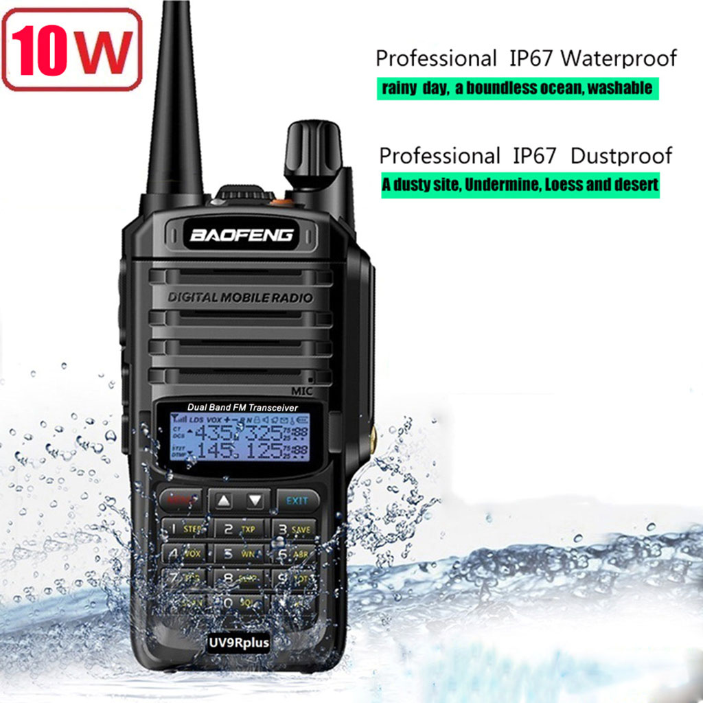 2019 NEW High Power Upgrade Baofeng UV-9R Plus Waterproof Walkie Talkie 10w For Two Way Radio Long Range 10km 4800mah EU Charger