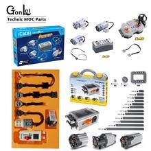 Piezas eléctricas para tecnología PF, medio XL, motores grandes, cable de extensión, dirección alexbeam, marco de engranaje 64179 MOC, conjunto de bloques de ladrillo en caja