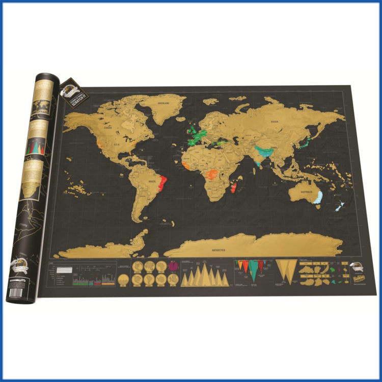 World Version Scratch Map Black Gold Can Scratch Open Travel Poster Personalized Travel Scratch Map Gift