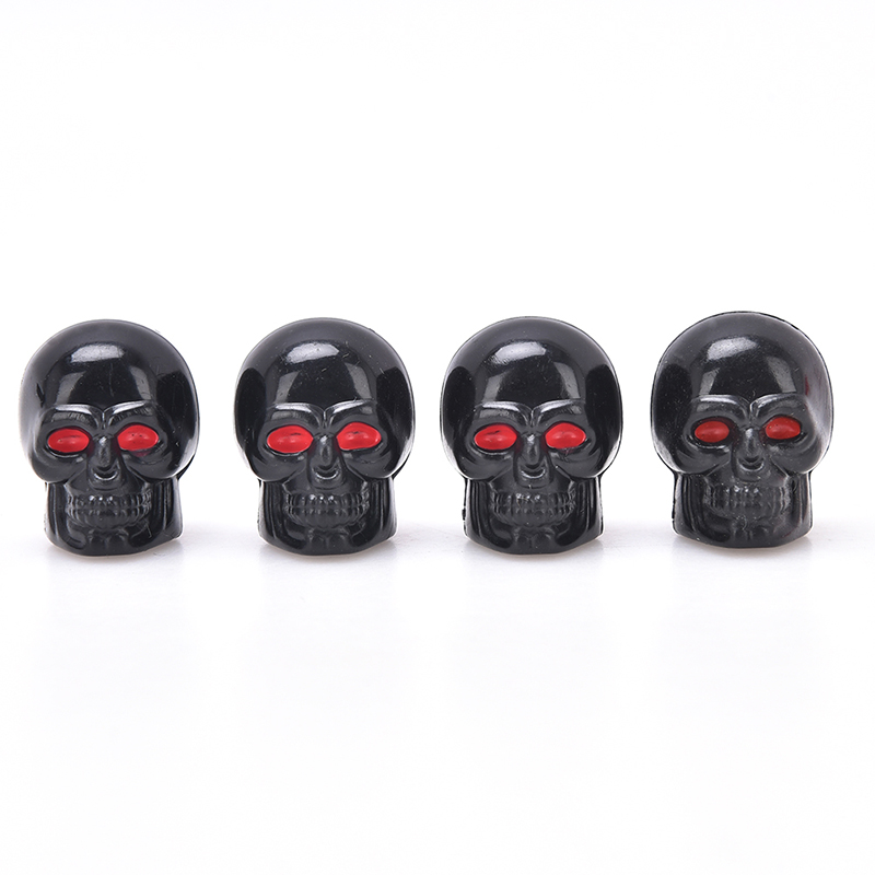 4pcs/Pack Auto Tyre Air Stem Caps Dust Cover For Bike Car Truck Styling Creative Skull Car Valve Caps For Cars Wheel Valve Cap
