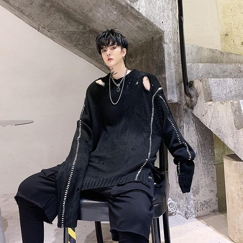 YASUGUOJI New 2019 Autumn Punk Style Hole Sweater Men Fashion Loose Oversized Sweater Men Black Mens Knitted Pullover Sweaters