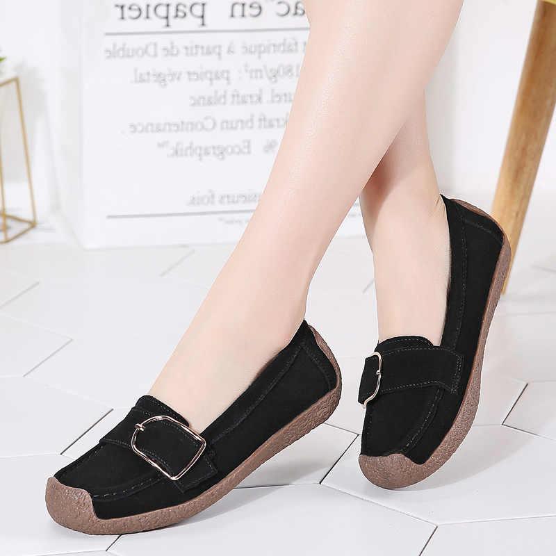 Bahar kadın ayakkabısı hakiki deri kadın Flats üzerinde kayma kadın loafer'lar kadın mokasen bot ayakkabı toka konfor bayan ayakkabıları