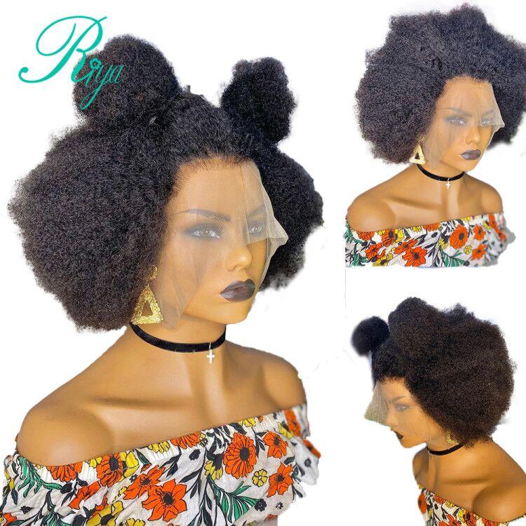 Pixie curto afro kinky encaracolado blunt bob corte 13x4 frente do laço perucas de cabelo humano para preto feminino 4x4 fechamento do laço peruca remy preplucked