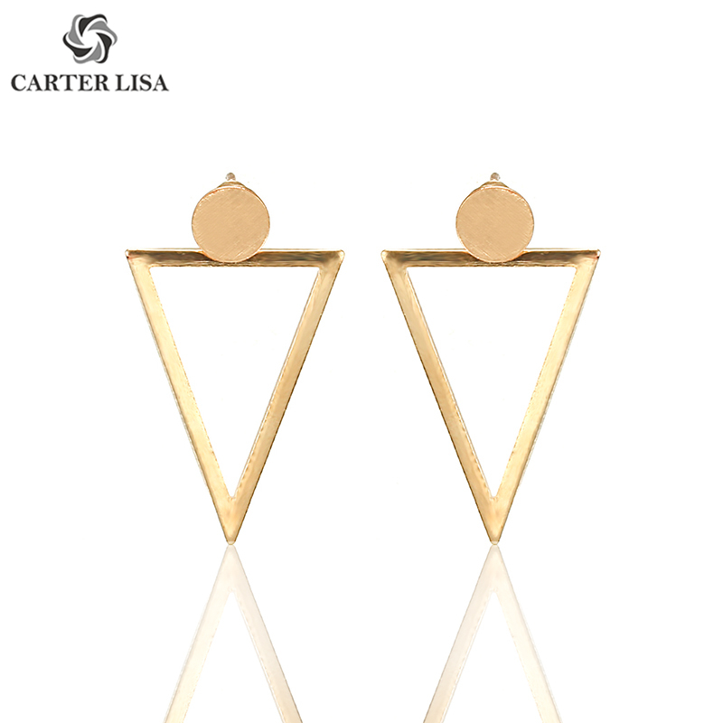CARTER LISA Hot Sale Exquisite Back Geometric Golden Stud Earring Hollow Triangle Earrings Girls Fashion Jewelry Wedding Gift