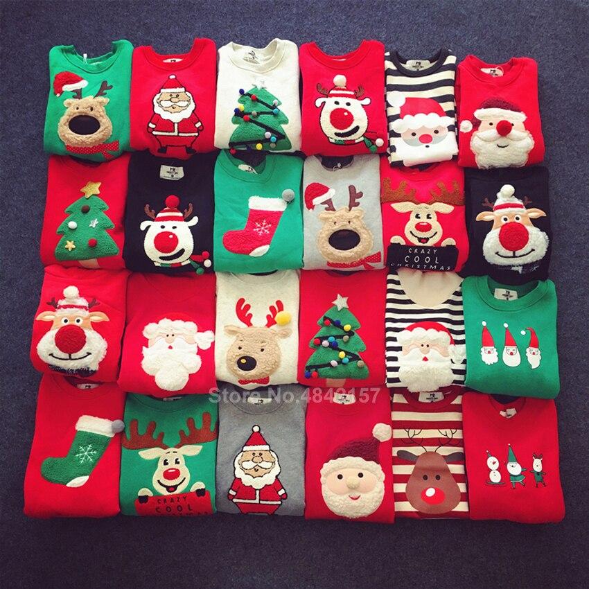 2019 New Year Christmas Family Sweater Pajamas Santa Claus Elk Xmas Warm Winter Hoodies Sweatshirt Parent-child Matching Clothes