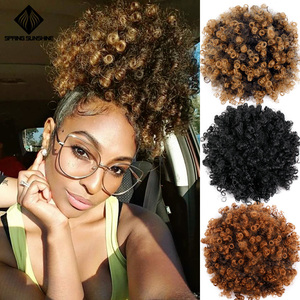 High Puff Afro Curly Wig Ponytail Drawstring Short Afro Kinky Pony Tail Clip in Synthetic Hair Bun with Bang Extensions 1PC/Pack(China)
