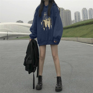 Image 5 - Hoodies Women Loose Thickening Printed Korean Style Students Solid Hip Hop Sweatshirts Hooded New All match BF Ulzzang Casual