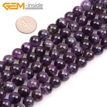 Жемчужные бусины 6-16 мм из натурального камня, Круглые разноцветные пурпурные аметисты, бусины для изготовления ювелирных изделий, 15 дюймов, бусины для рукоделия