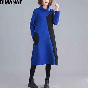 Image 5 - DIMANAF 女性のドレスヴィンテージ長袖冬秋厚い綿の女性ゆるいカジュアルな女性の Vestidos タートルネックパッチワークドレス
