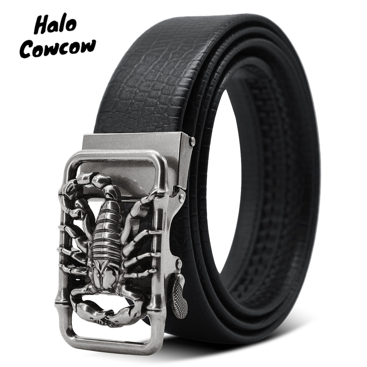 Metal Scorpion Shape 3D Buckle Belts Men Leather Luxury Brand  Automatic Buckle Punk Belt Male Quality Designer Belt Animal 2020