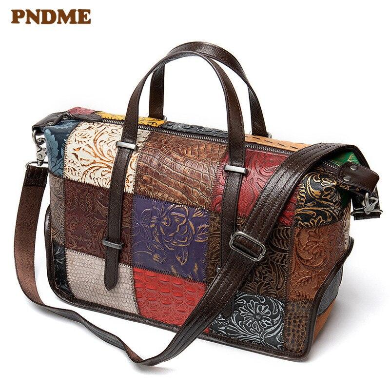PNDME модная винтажная натуральная кожаная женская сумка дизайнерская строчка высокого качества из мягкой воловьей кожи женские дорожные су...
