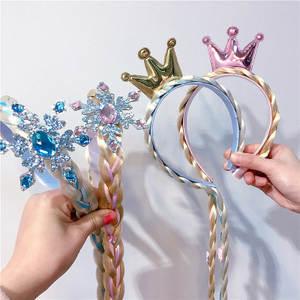 Crown Headband Rapunzel Princess Dress-Up-Accessory Floral-Bow Girls Child with Braid