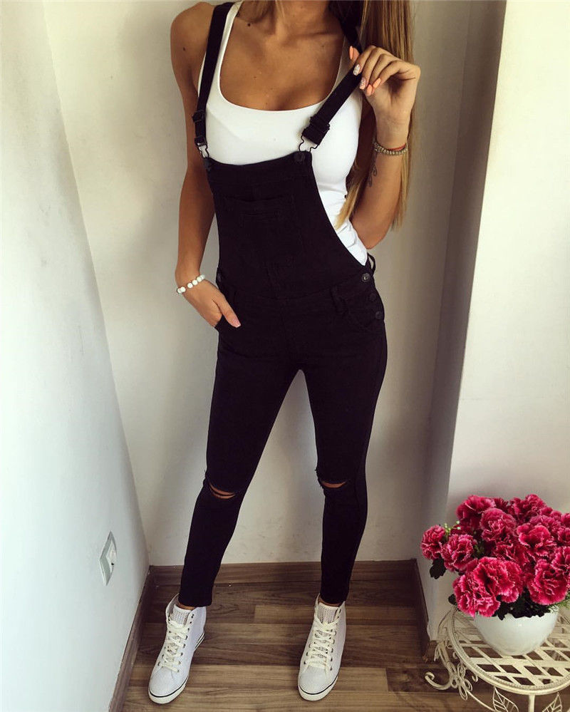Spring Autumn Women Casual Jumpsuit  Baggy Bib Overall Skinny Hole Black Pants Stylish Lady Slim Jumpsuits Outdoor Clothes
