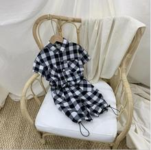 Girls Summer Clothes 2020 New Baby Girl Clothes Sets Plaid Shirts And Pants Kids Clothes Girls 2 Pcs Sets Teenager Clothing cheap Fashion Turn-down Collar Single Breasted YX2296 COTTON Short REGULAR Fits true to size take your normal size Shorts Children