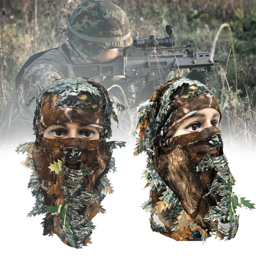 Breathable Hunting Hats 3D Leaves Camouflage Full Face Mask Hood Suits Headgear Cap Camo Hunting Training Cap Headwear Masks
