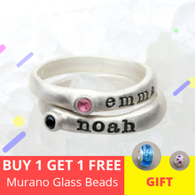Strollgirl new 925 Sterling Silver Personalized Stackable Carved Name Ring with Birthstone Triple Stackable Ring Custom Jeweller personalized birthstone engraved name ring gold color family stackable ring for mother
