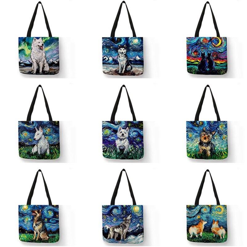 Сумка на плечо женская с принтом звёздного неба, большая Повседневная сумочка-тоут для покупок с принтом собаки