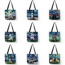 Novo céu estrelado animal cão impresso bolsa de ombro das mulheres grande tote senhoras lazer ocasional saco de mão compras ao ar livre