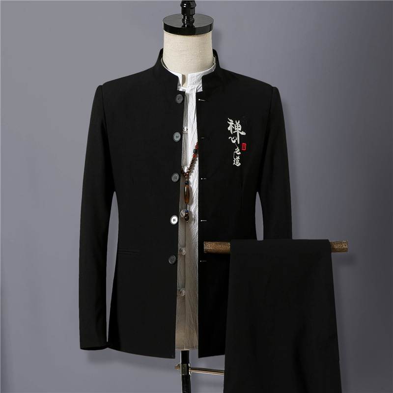 Chinese-style Fashion Men'S Wear 2019 Spring And Autumn Suit Stand Collar Sun Yat-sen Costume Embroidered Two-Piece Set Men's Tz