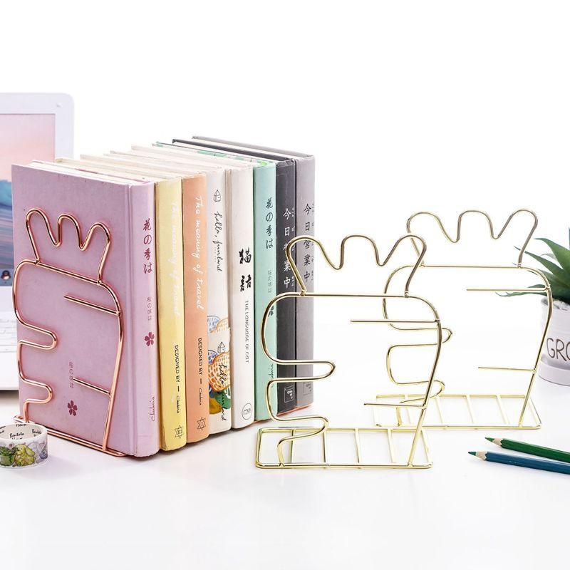 Metal Book Ends Modern Decorative Bookshelf Decor For Bedroom Library Office School