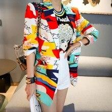 Korean 2019 Spring Women letter Printed Colorful Blazer Elegant Ladies Chic Stre