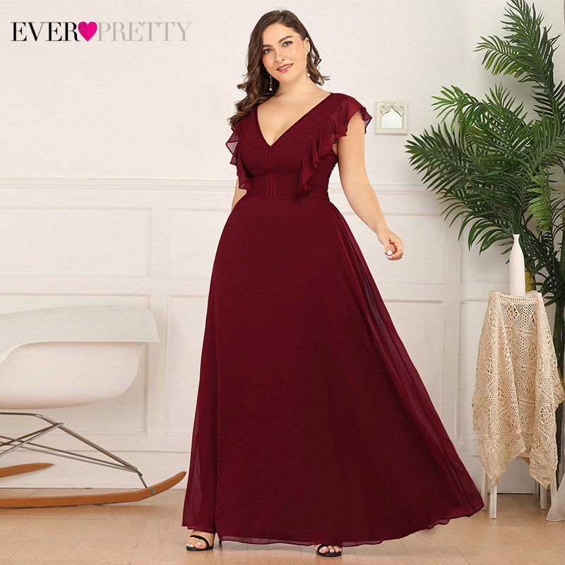 Plus Size Burgundy Prom Dresses Ever Pretty A-Line Deep V-Neck Ruffles Sleeveless Elegant Long Party Gowns Vestidos De Gala 2020