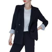 Korean Fashion Office Work Temperament Pant Suits Women Suits Blazer with Pants Autumn Two Piece Outfit Black,Navy Blue