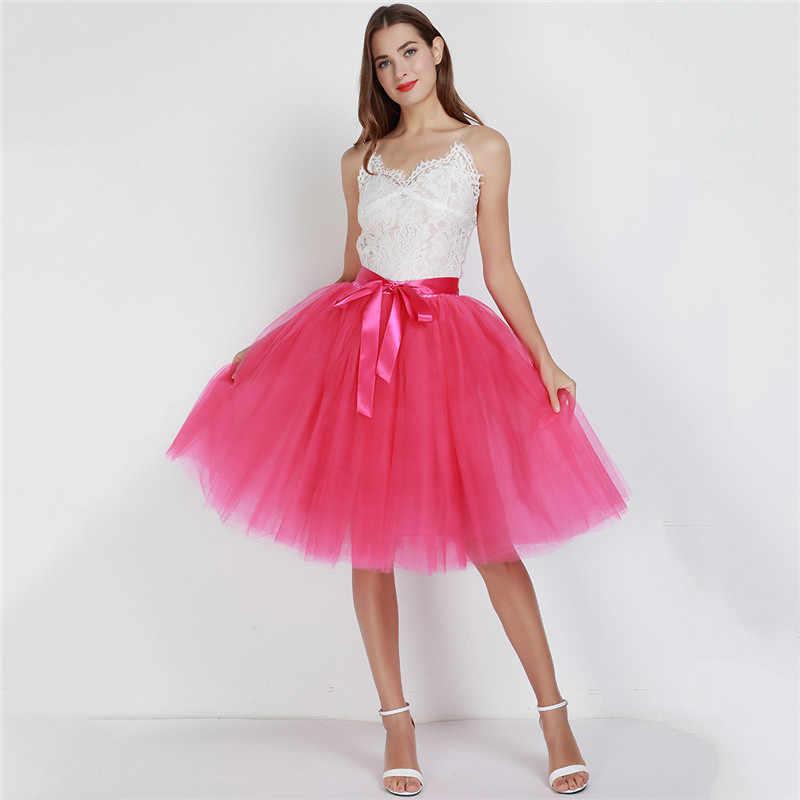 6 couches 65cm mode Tulle Jupe plissée Tutu jupes femmes Lolita jupon demoiselles d'honneur Vintage Midi Jupe Saias faldas